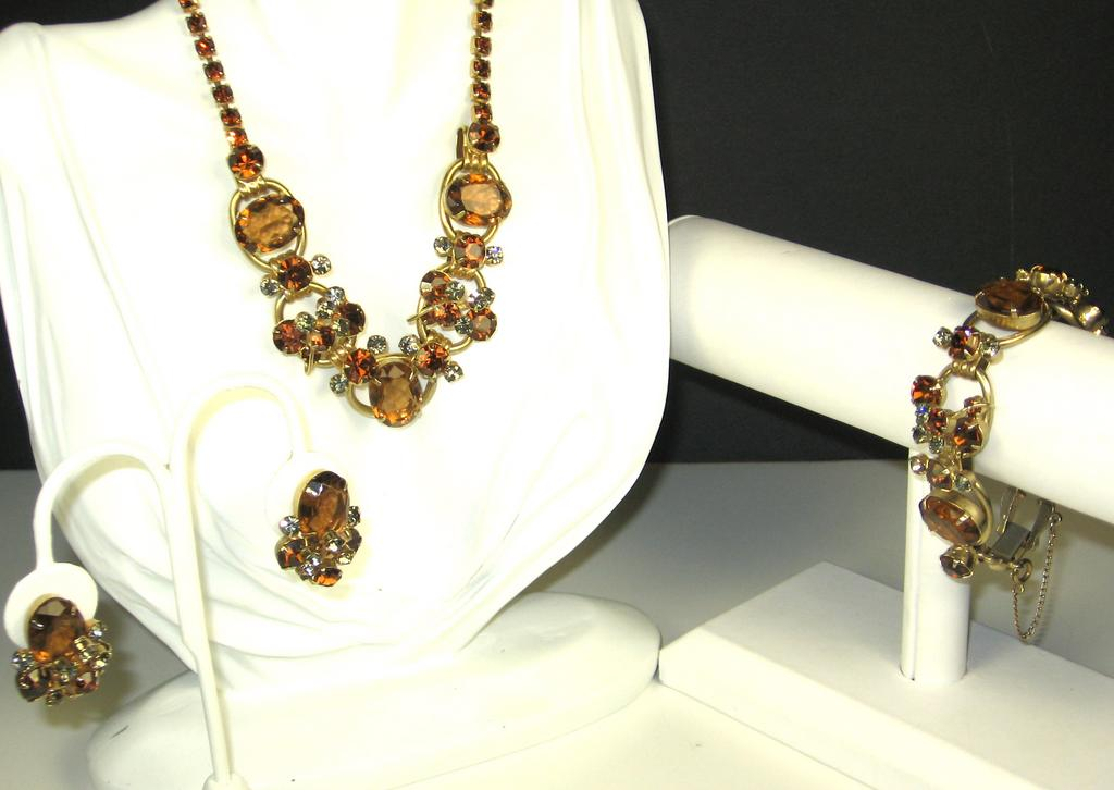 Vintage Juliana Style Amber Glass Necklace, Bracelet, and Earrings