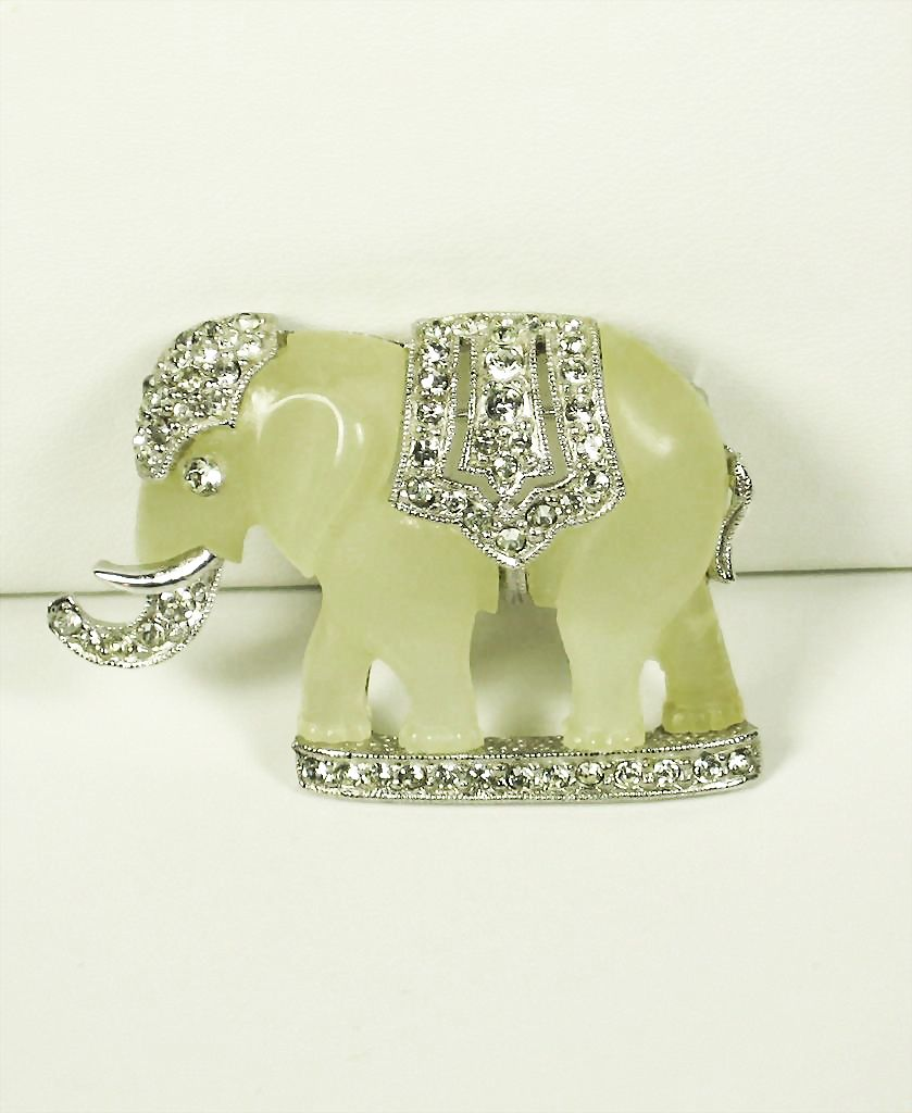 Vintage Hattie Carnegie Cream Colored Lucite Elephant Pin
