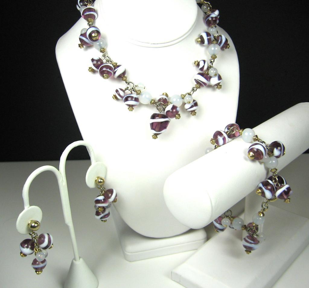 Hattie Carnegie White Swirled Purple Glass Beaded Necklace, Bracelet, and Earrings