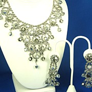 Hattie Carnegie Bib Choker Necklace and Dangle Earrings