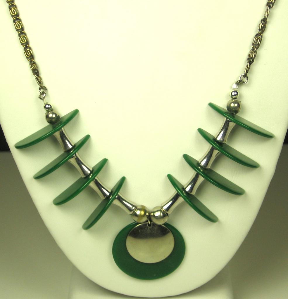 Jakob Bengel Chrome and Green Galalith Geometric Necklace