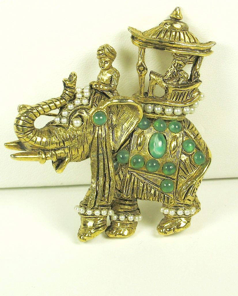 Hattie Carnegie Rajah Elephant and Howdah Pin with Imitation Pearls