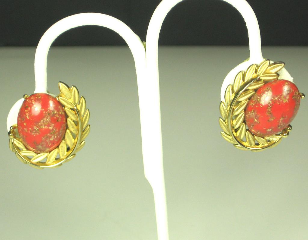 Vintage Emmons Floral Earrings with Lucite Cabochons
