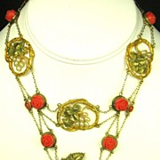 Art Nouveau 10kt Gold, Coral, Celluloid, and Imitation Pearl Floral Necklace