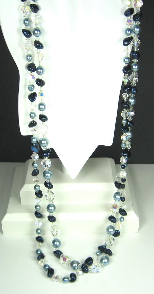 Long Aurora Borealis Crystal and Glass Beaded Necklace