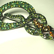 Kenneth Jay Lane Green Rhinestone Snake Pin