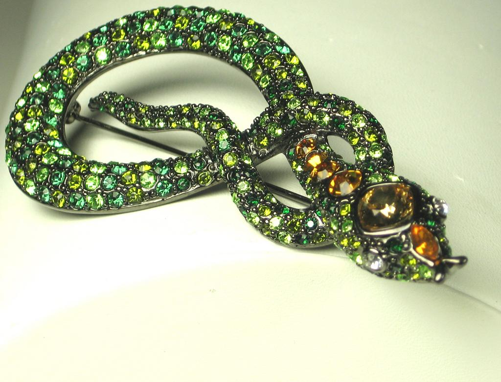 Kenneth Jay Lane Green Rhinestone Snake Pin
