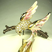 Hattie Carnegie Enameled Rhinestone Bird Brooch