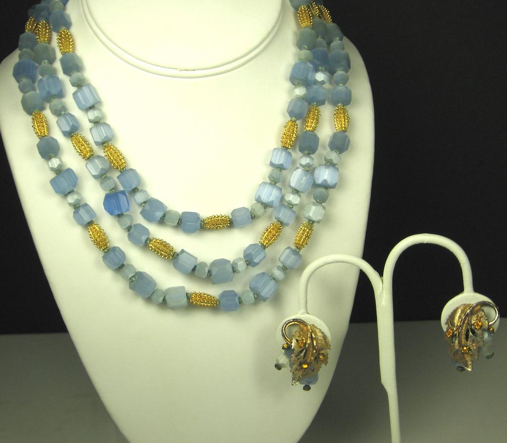 Hattie Carnegie Three Strand Blue Glass Floral Necklace and Earrings
