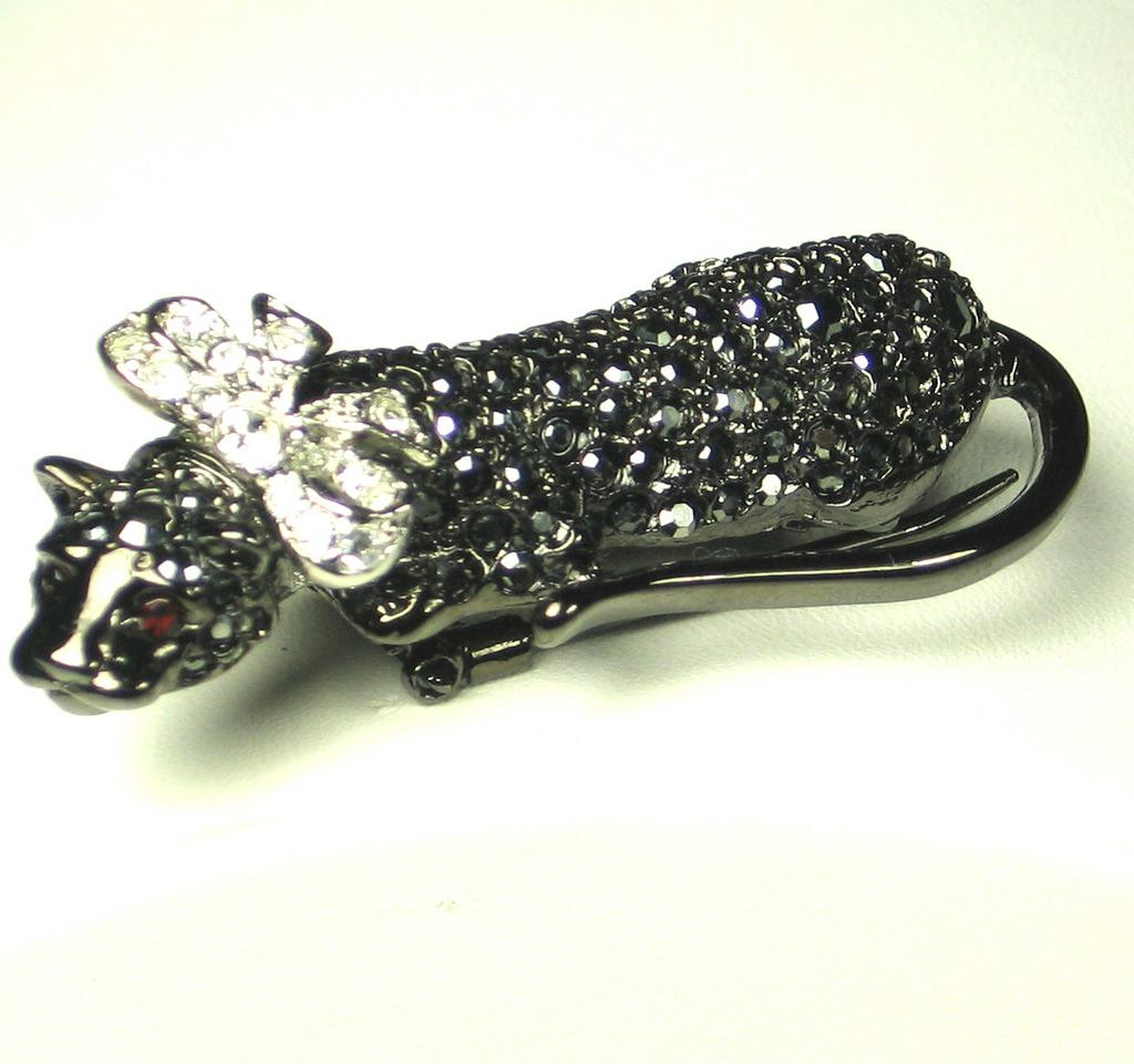 Kenneth Jay Lane Bowed Black Panther Fur Clip