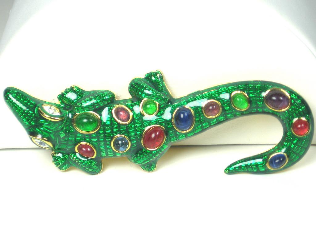 Kenneth Jay Lane Enameled Alligator Brooch