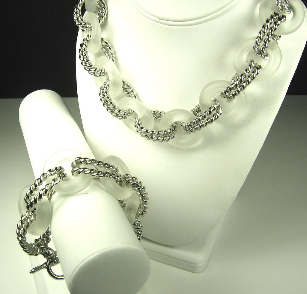 Kenneth Jay Lane Frosted Lucite Ringed Necklace and Bracelet