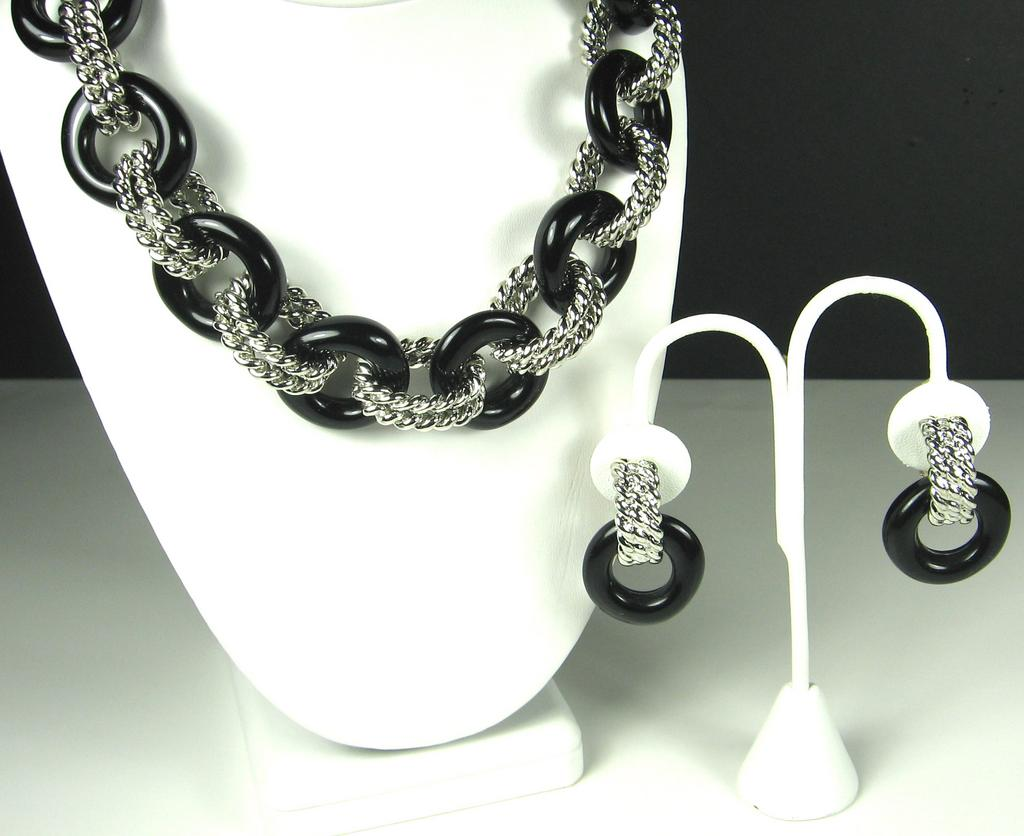 Kenneth Jay Lane Black Lucite Ringed Necklace and Earrings