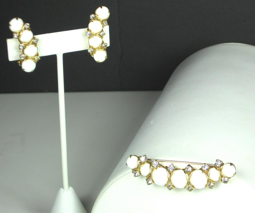 Hattie Carnegie Milk Glass and Rhinestone Pin and Earrings