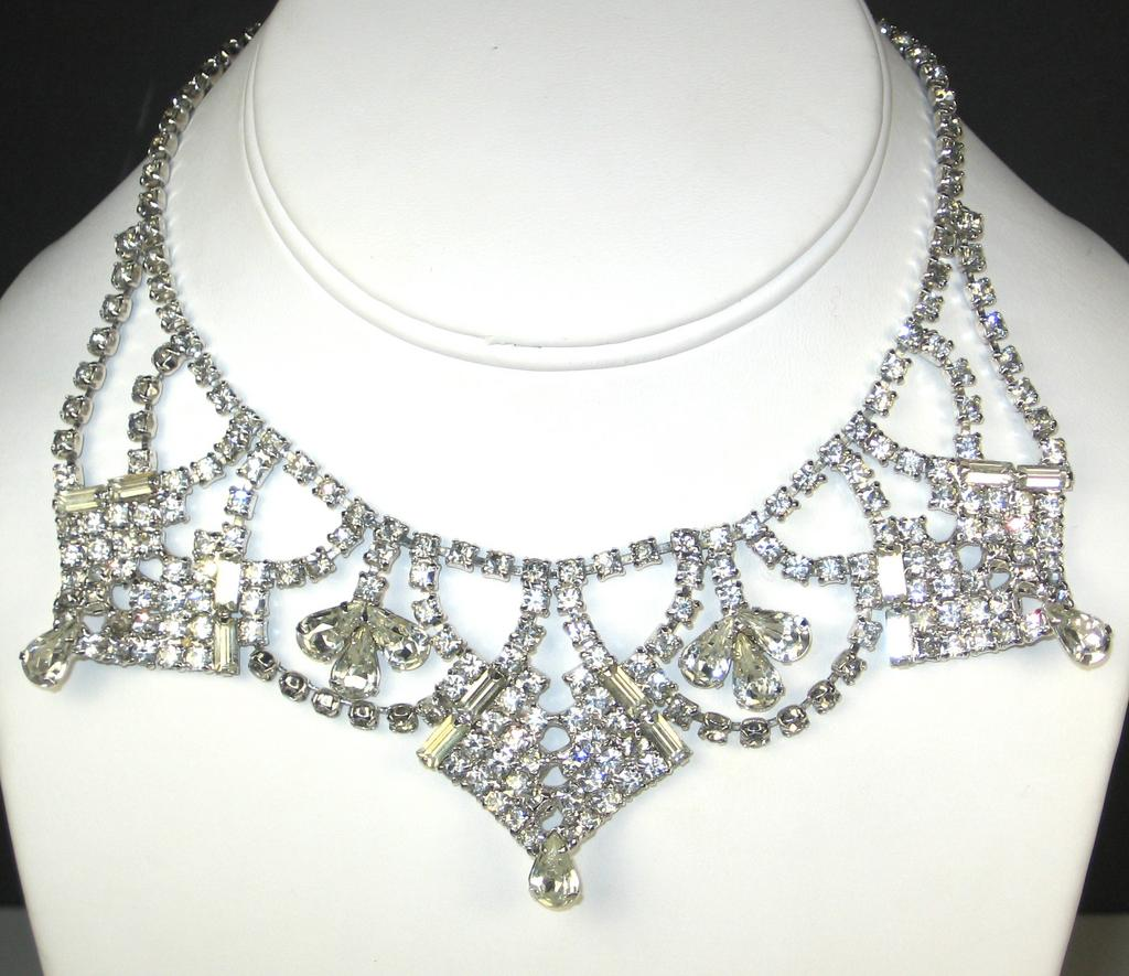 White Rhinestone Bib Style Necklace