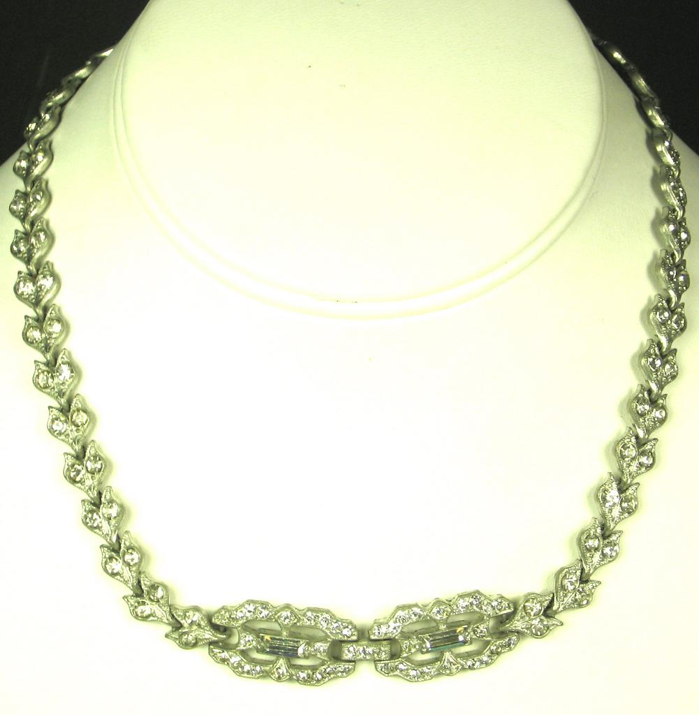 Beautiful Pot Metal and White Rhinestone Necklace