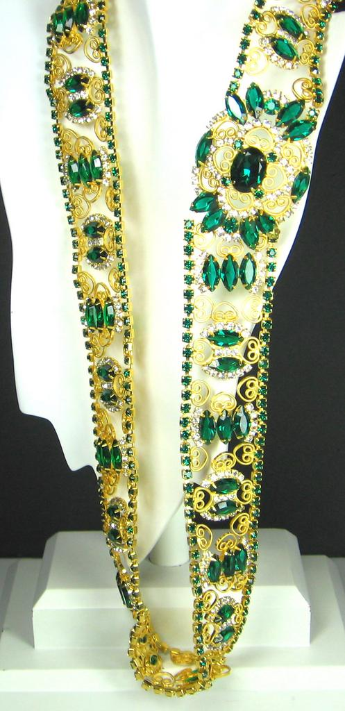 Kenneth Jay Lane 1960s Princess Grace Collection Gemstone Jeweled Belt