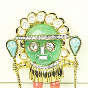Kenneth Jay Lane Aztec Warrior Pin with Imitation Pearls