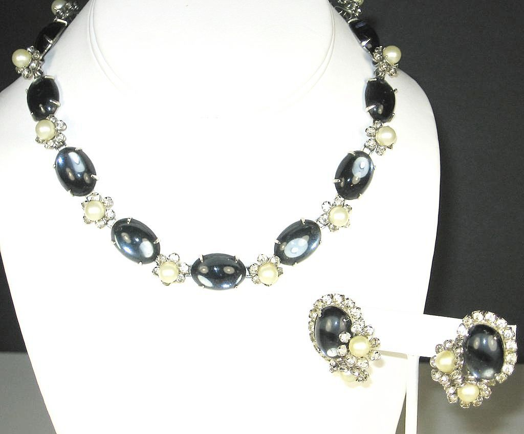 Hattie Carnegie Blue Glass Cabochon and Imitation Pearl Necklace and Earrings