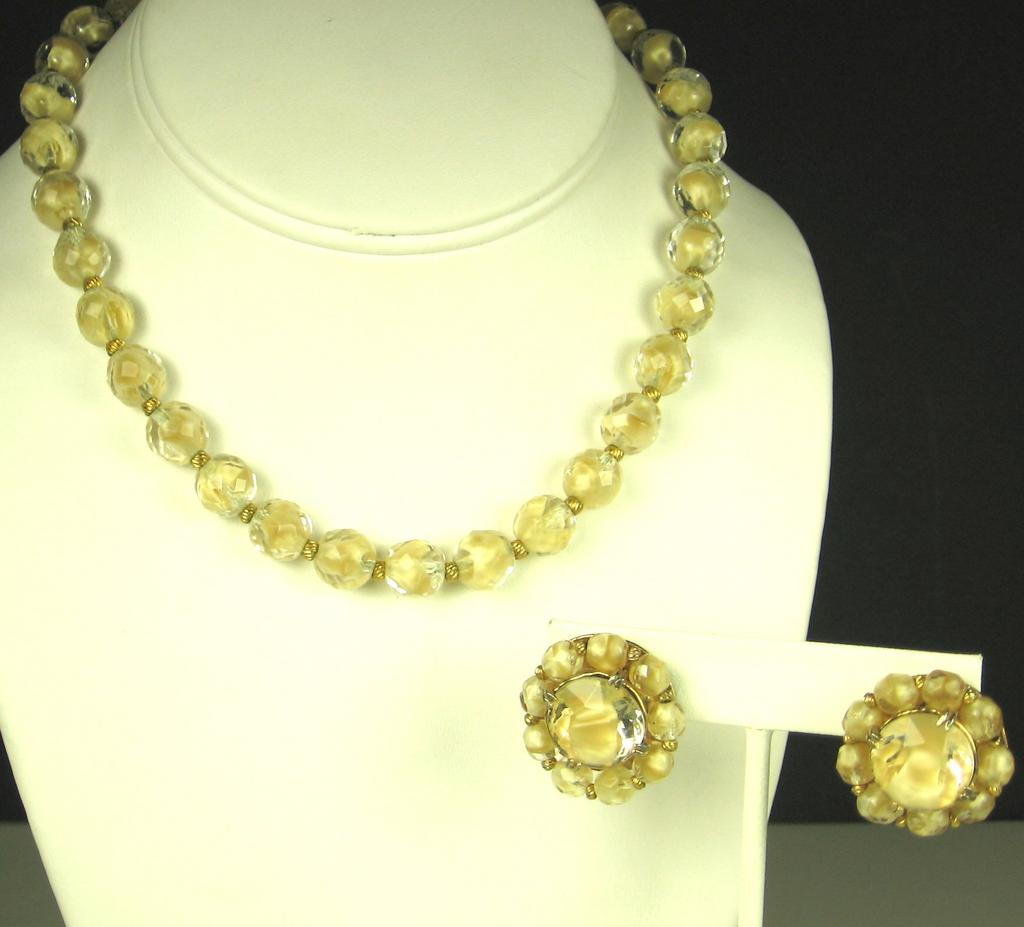 Hattie Carnegie Champagne Colored Givre Glass Necklace and Earrings