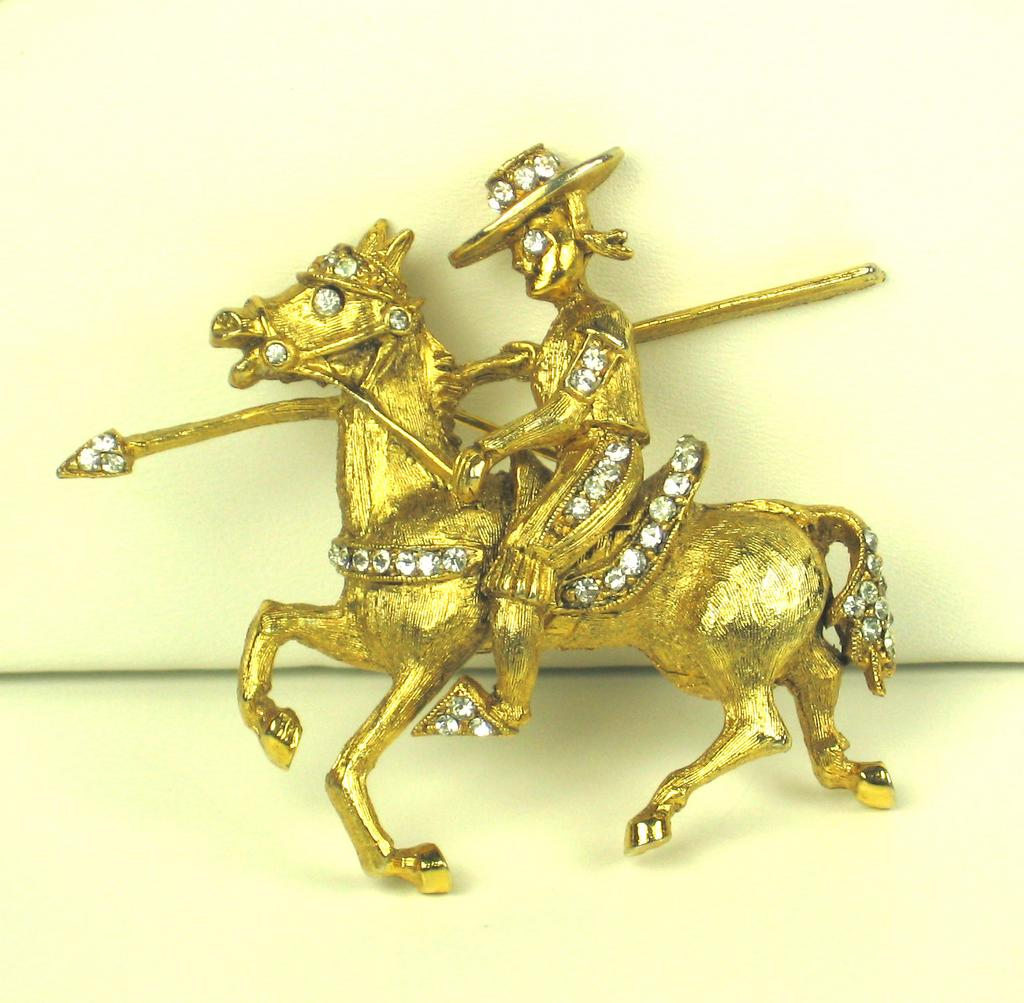 Hattie Carnegie Rhinestone Cowboy and Horse Pin