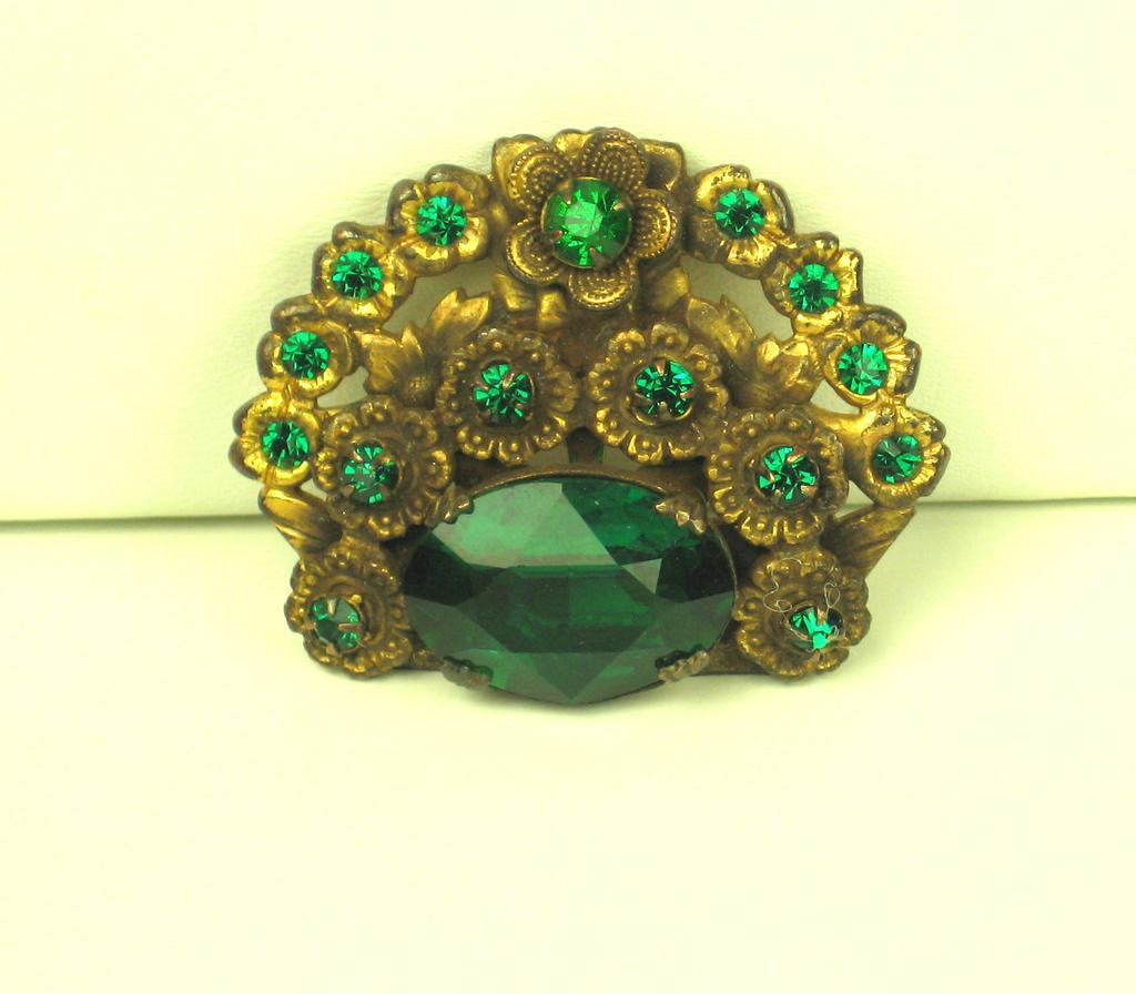 Vintage Emerald Green Gemstone Dress Clip
