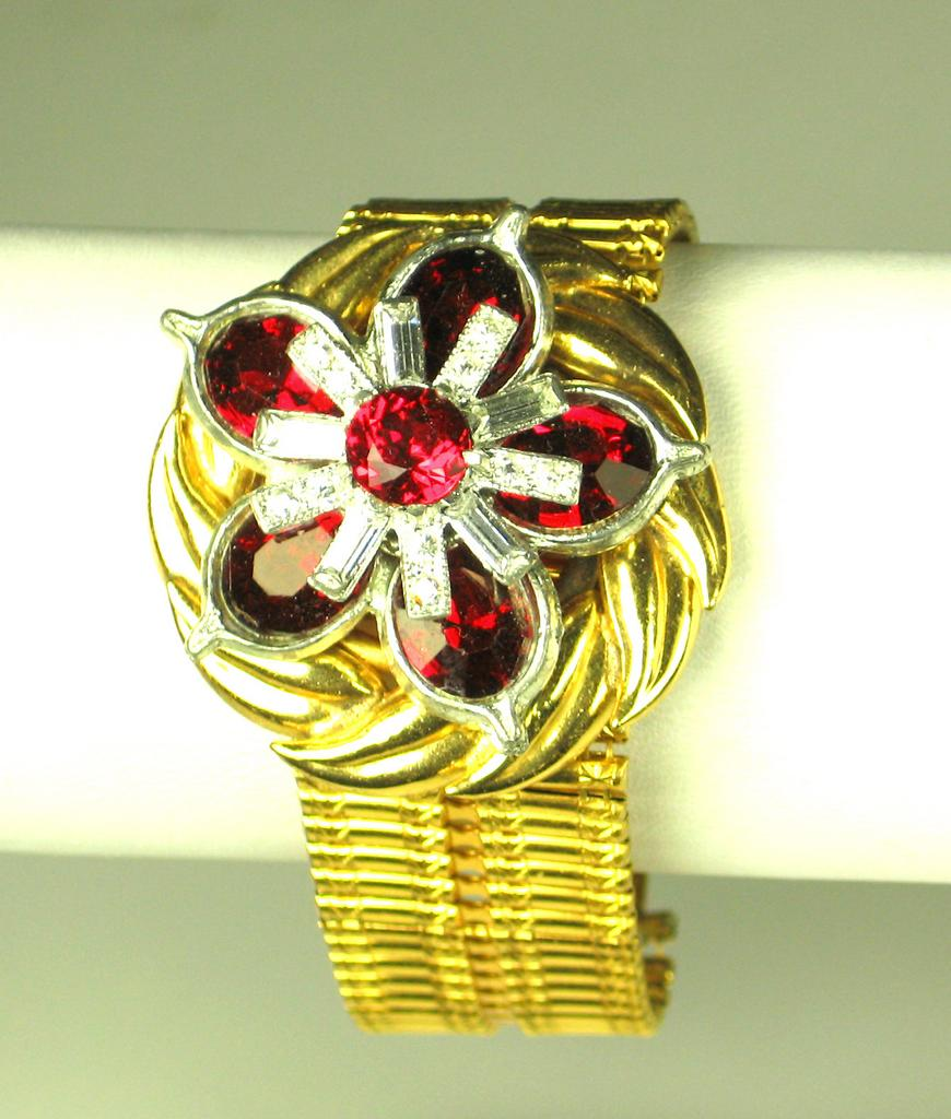 Red Oval Brilliant Cut Gemstone Floral Bracelet