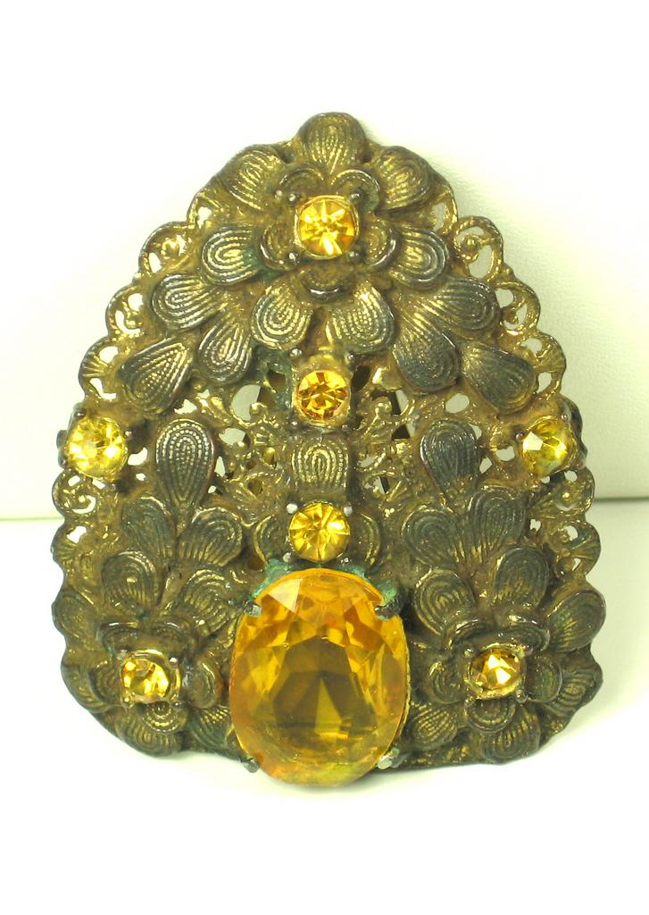 Amber Colored Gemstone Dress Clip