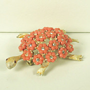 Har Enamel Turtle and Plastic Flower Shell Pin