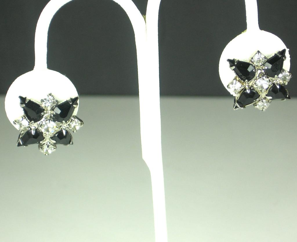 Weiss Black and White Glass Earrings