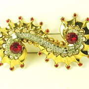 Art Deco McClelland Barclay Red Nautilus Brooch