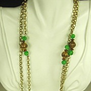 Vintage Hobe Swirled Green Glass Bead Necklace