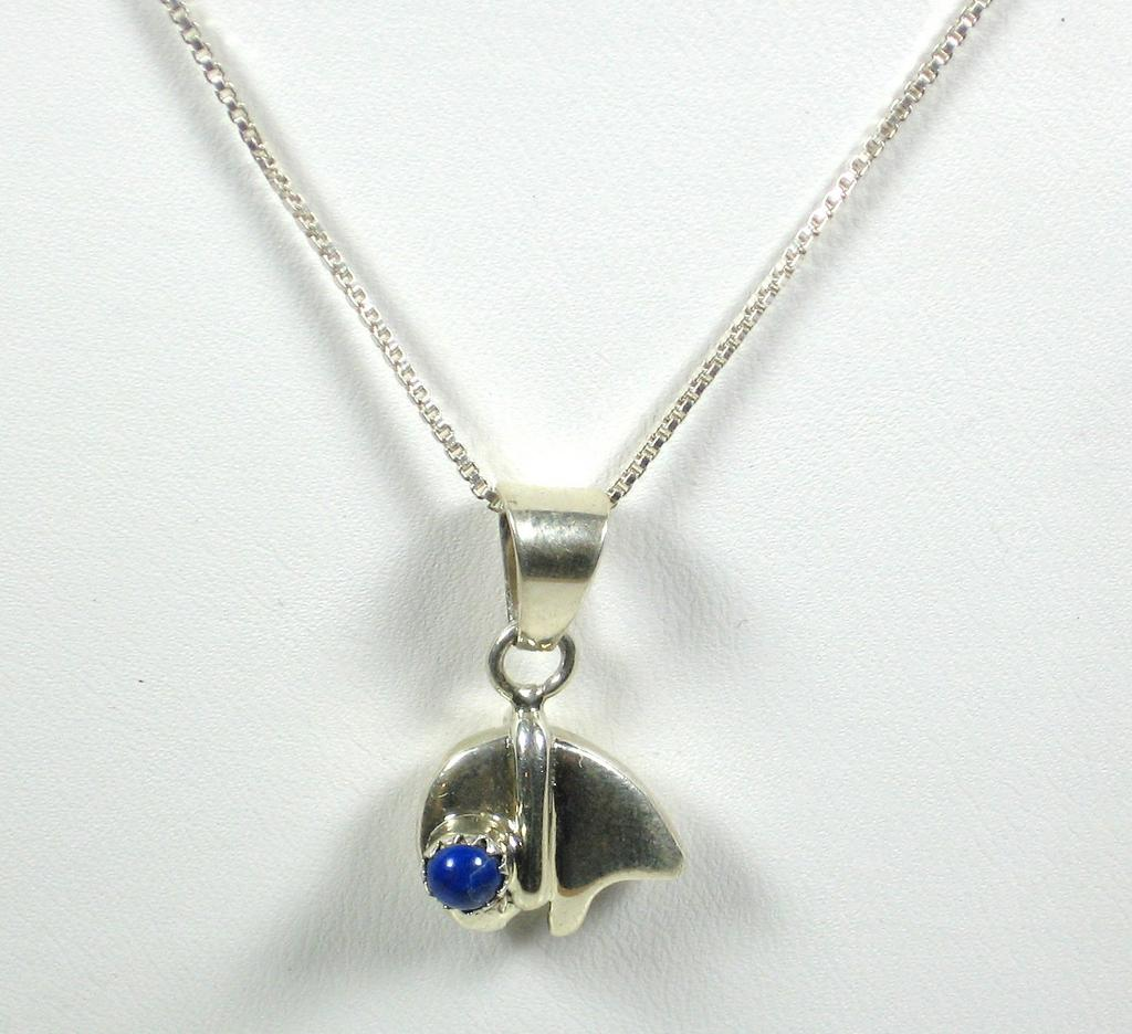 Vintage Italian 925 Sterling and Genuine Lapis Necklace
