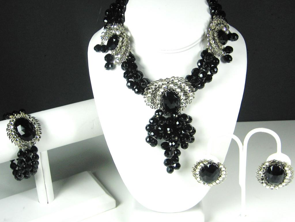 Miriam Haskell Jet Black Crystal Necklace, Bracelet, and Earrings