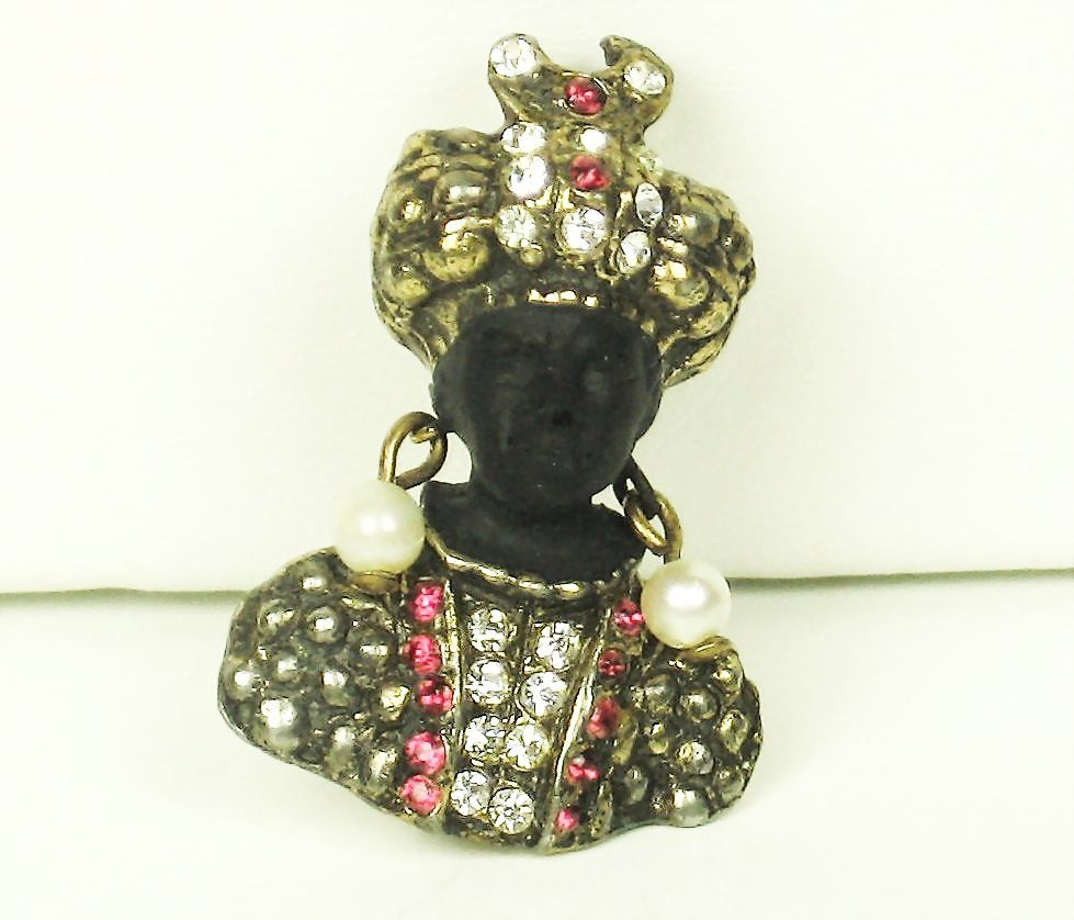 Rare Hattie Carnegie Blackamoor Pin with Cultured Pearls