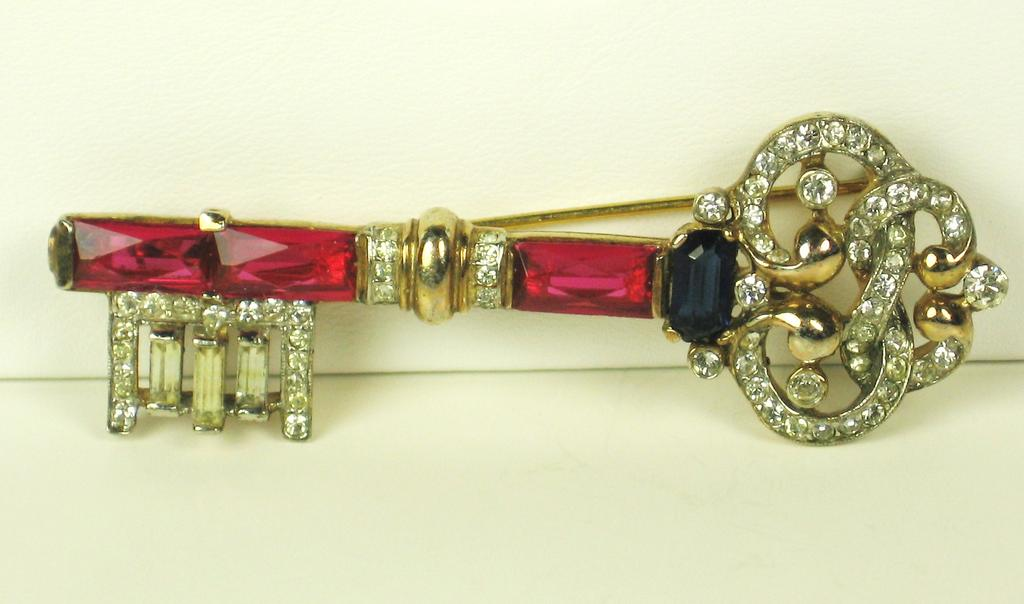 Trifari Gold Tone Sterling and Glass Jewel Key Pin