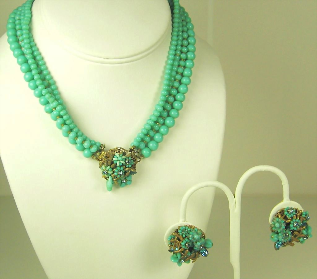 Eugene Four Strand Glass Bead Floral Necklace and Earrings