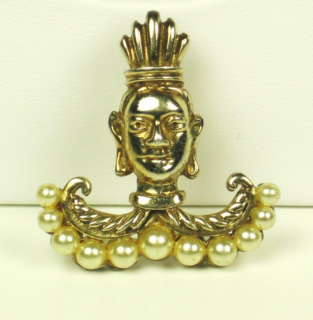 Gold Plated Sterling DeRosa Tribal Face Pin w Imitation Pearls