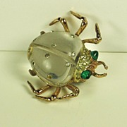 Coro Sterling and Lucite Jelly Belly Beetle Fur Clip