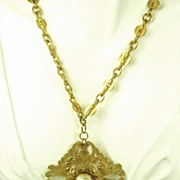 Vintage Miriam Haskell Imitation Pearl Floral Motif Necklace