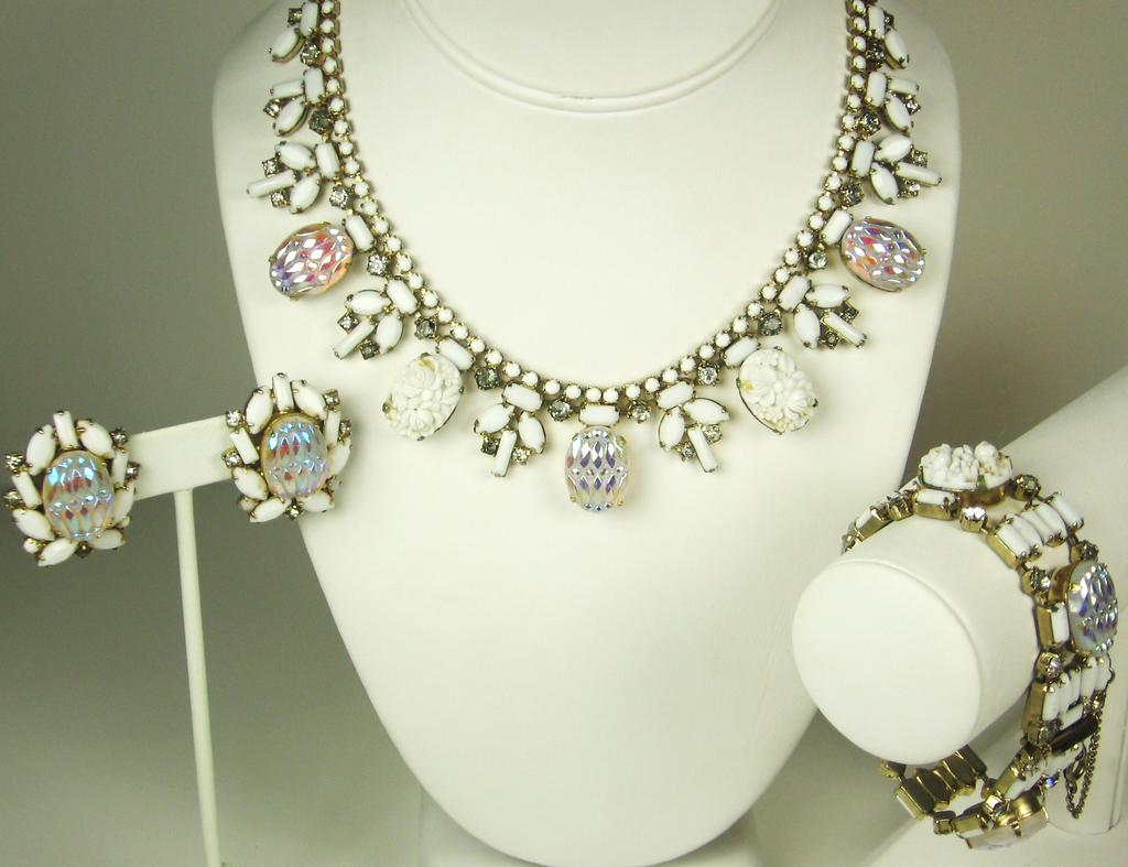 Hobe Molded Glass Floral Necklace, Bracelet, and Earrings