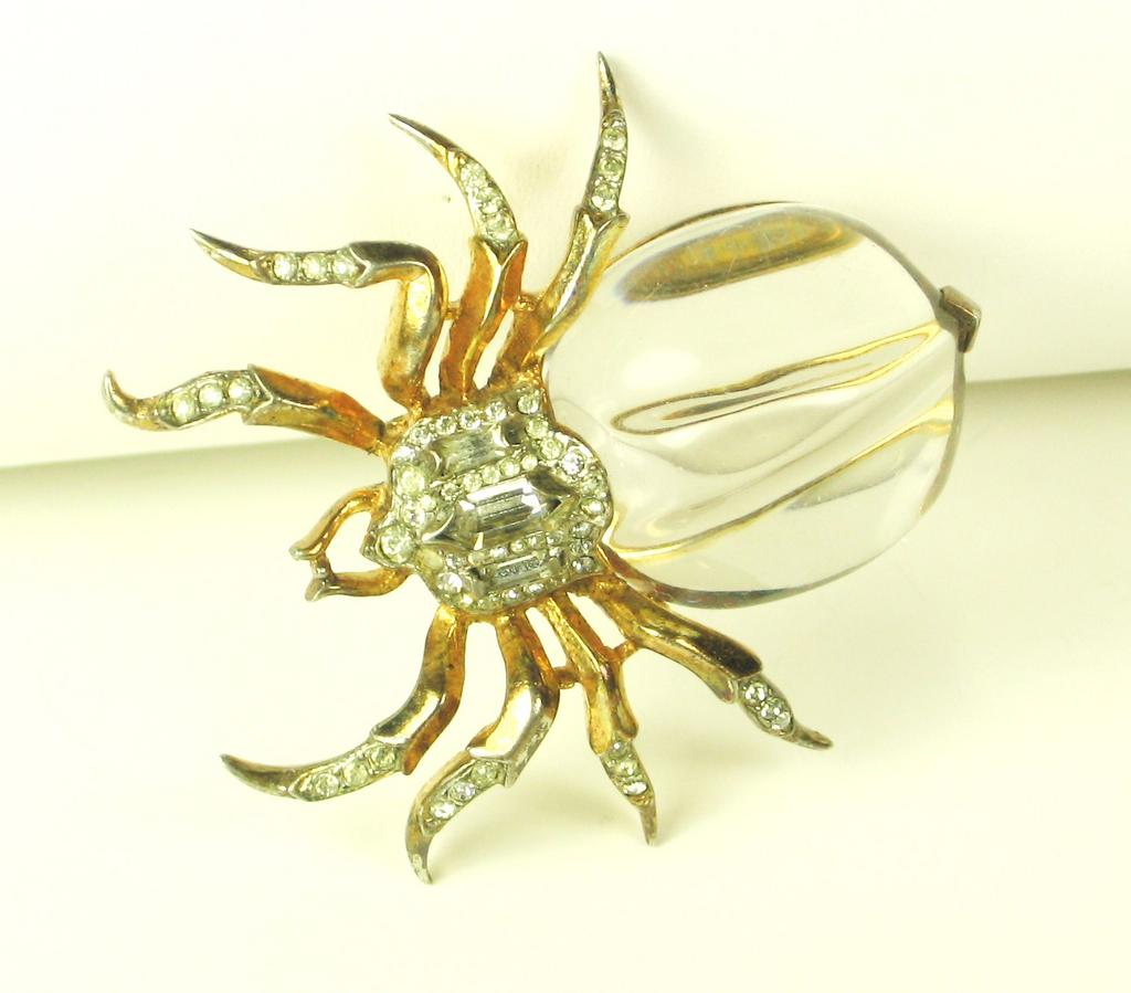 Trifari Lucite Jelly Belly and Sterling Spider Fur Clip