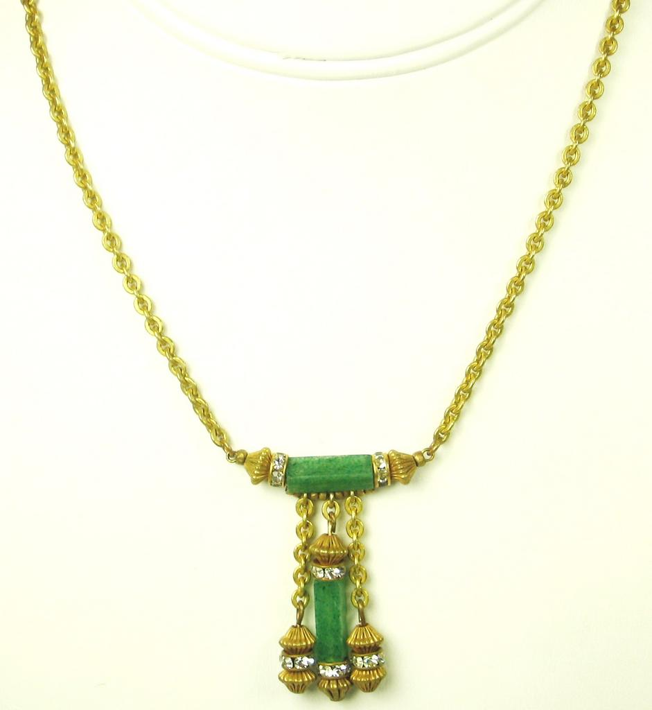 Late 1960s Miriam Haskell Jade Lavaliere Necklace