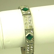 Art Deco 1920s French Emerald Green Paste Bracelet