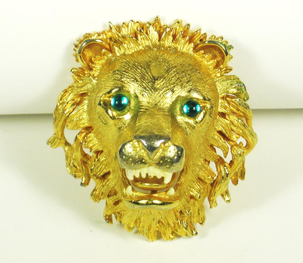 Hattie Carnegie Roaring Lion Head Brooch