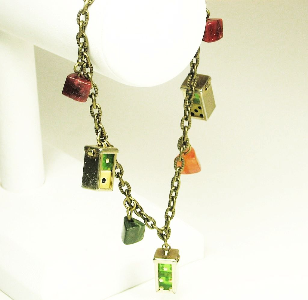 Vintage Lucite Dice Charm Bracelet