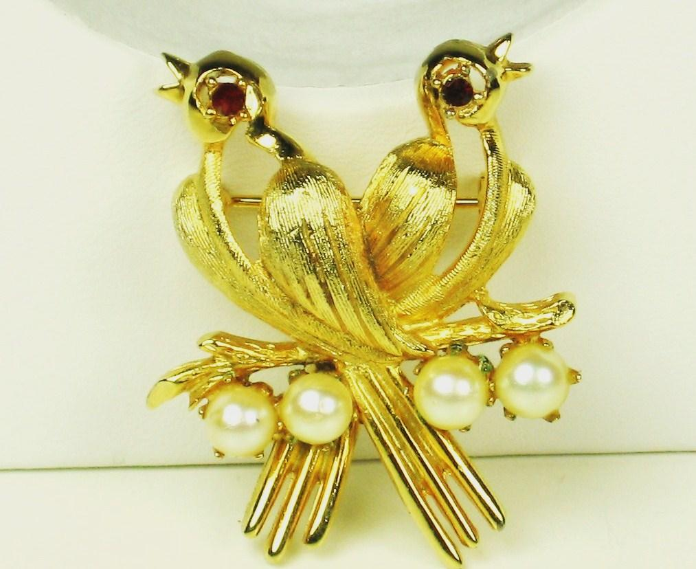Vintage Gold Plated Song Birds with Cultured Pearls Brooch