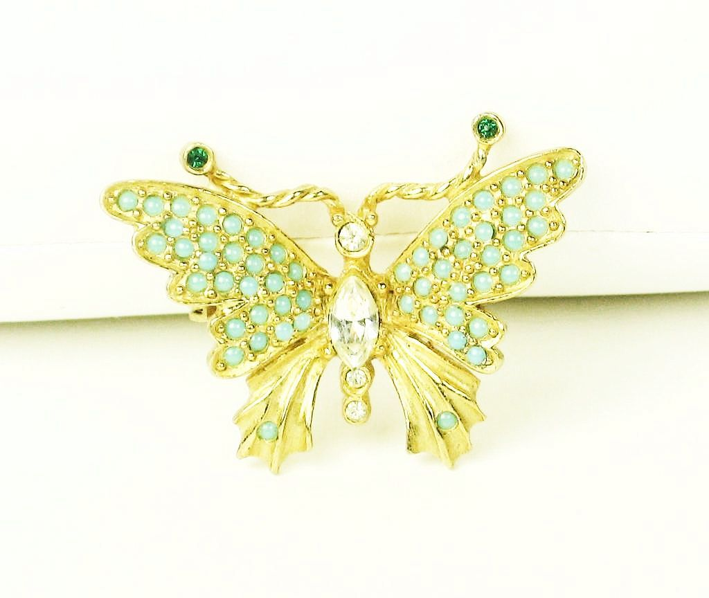 1937 Hattie Carnegie Turquoise Colored Glass Bead Butterfly Pin