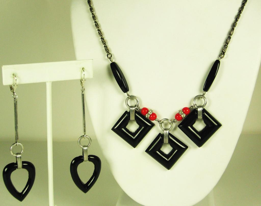 Jakob Bengel Sterling and Black Glass Necklace and Earrings