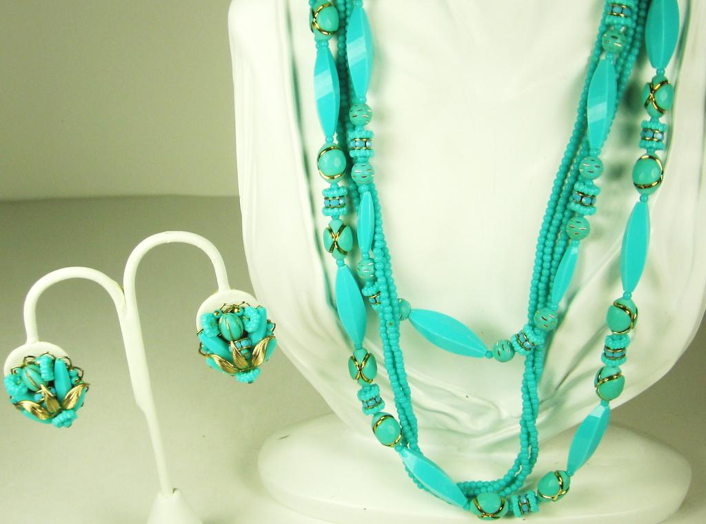 Alice Caviness Robin's Egg Blue Plastic Floral Necklace and Earrings